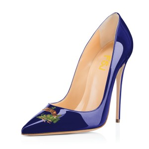 Women's Navy Leopard In The Woods Floral Office Heels Pointy Toe Stiletto Heels Pumps