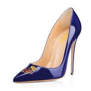 Women's Navy Floral Office Heels Pointed Toe Stiletto Heels Pumps