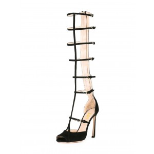 Women's Black Gladiator Heels Knee-high Stiletto Heels Strappy sandals