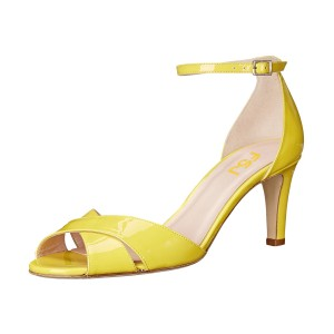 Women's Yellow Ankle Strap Sandals Peep Toe Stiletto Heels