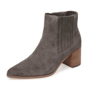 Dark Grey Suede Slip on Boots Pointy Toe Block Heel Vintage Boots
