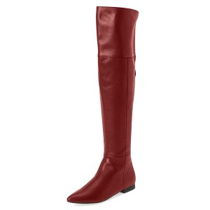 Red Flat Thigh High Boots Pointy Toe Long Boots by FSJ