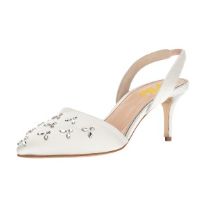 White Almond Toe Rhinestone Stiletto Heel Slingback Wedding Pumps