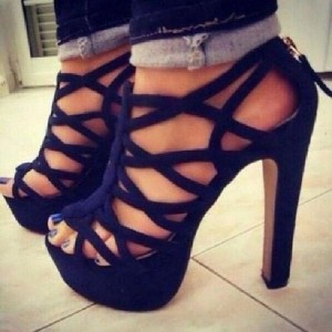 Navy Chunky Heels Peep Toe Strappy Sandals with Platform for Women