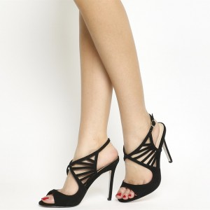 4 inch Heels Black Suede Hollow out Stiletto Heels Slingback Sandals