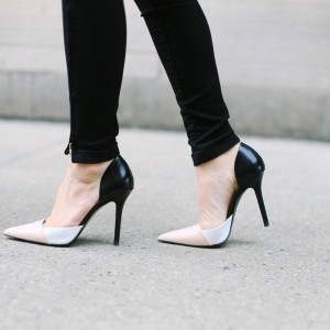 4 inch Heels Blush and Black Pointy Toe Stiletto Heel Pumps