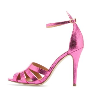 4 inch Heels Hot Pink Sandals Stiletto Heels Ankle Strap Sandals