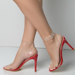 4 inch heels Red Clear Strap Heels Open Toe Slingback Sandals