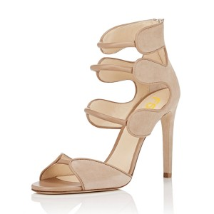 Women's Nude Open Toe Strappy Stiletto Heels Hollow Out Sandals