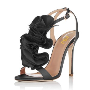 Black Evening Shoes Satin Stiletto Heel Floral Sandals for Prom