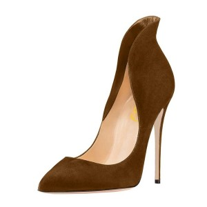 Brown Collar Stiletto Heels Pumps Pointy Toe Formal Shoes