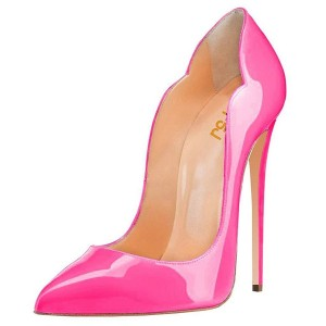 Hot Pink Stiletto Heels Patent Leather Pumps by FSJ