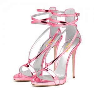 Women's Hot Pink Stiletto Heel Ankle Strap Sandals