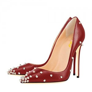 Burgundy Heels Pointy Toe Stiletto Heel Pumps Studs Shoes by FSJ