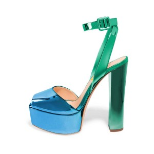 Green and Blue Chunky Heel Sandals Ankle Strap Heels Slingback Sandals