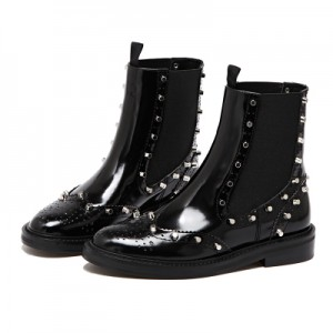 Black Wingtip Boots Patent Leather Round Toe Studs Chelsea Boots