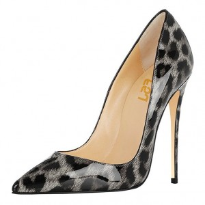 FSJ Grey Patent Leather Leopard Print Heels Pointy Toe Stiletto Heels