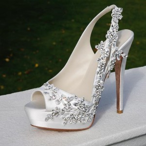 Women's  Wedding White Stiletto Heels Slingback Pumps With Platform