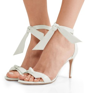 White Tie Wedding Heels Open Toe Stiletto Heel Sandals