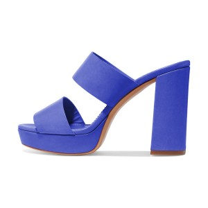Blue Mule Heels Open Toe Platform Chunky Heels for Office Lady