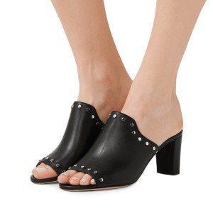 Women's Black Open Toe with Metal Mule chunky Heel Sandals