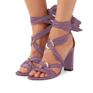Women's Violet Bow Chunky Heel Strappy Sandals