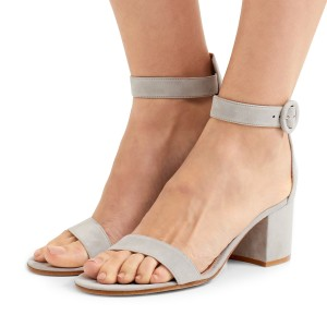 Women's Grey Suede Chunky Heel Ankle Strap Sandals
