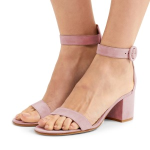 Women's Pink Suede Ankle Strap Heels Chunky Heel Sandals