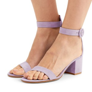 Women's Violet Suede Chunky Heel Ankle Strap Sandals