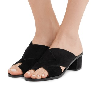 Women's Black Suede Mule Chunky Heel Sandals