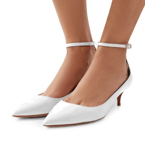 White Patent Leather Ankle Strap Heels Pointed Toe Kitten Heels Shoes