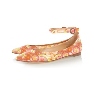 FSJ Orange Floral Ankle Strap Pointy Toe Flats All Size Avaliable
