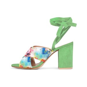 Beryl Green Splash Ink Floral Printed Chunky Heel Sandals