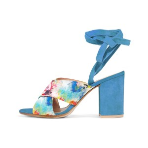 Women's Blue Splash Floral Printed Chunky Heel Sandals