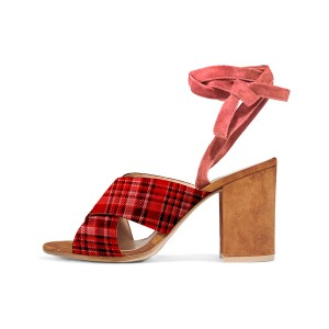 Red Plaid Block Heel Sandals Strappy Vintage Heels Sandals