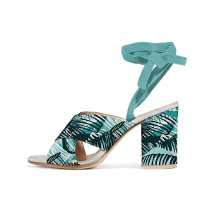 Turquoise Block Heel Sandals Floral Strappy Heels