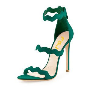 Green 5 Inches Stiletto Heels Open Toe Suede Sandals by FSJ
