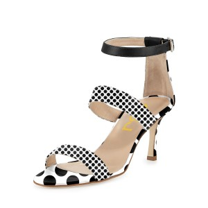 Women's Leila Black and White Dots Mid-heel Ankle Strap Sandals