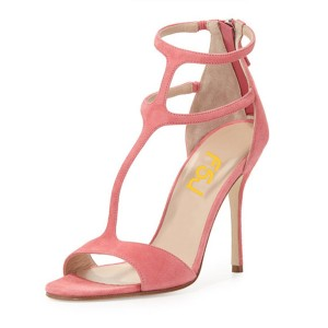 Women's Pink Dress Shoes Peep Toe T-Strap Summer Sandals with Zipper