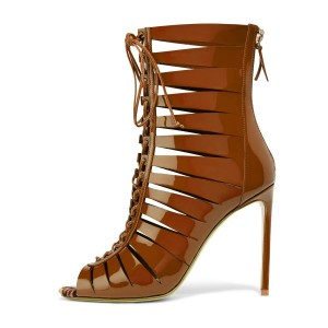 Tan Patent Leather Gladiator Heels Peep Toe Lace up Stiletto Heels