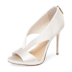 Women's Elegant Bridal Shoes Ivory Heels Peep Toe Heels Dress Shoes