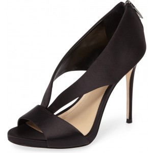 Women's Black Satin Cutout Stiletto Heels Formal Shoes