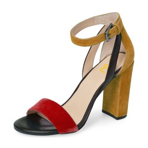 Red and Khaki Ankle Strap Sandals Open Toe Suede Block Heels