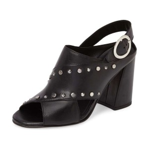 Black Studs Shoes Slingback Chunky Heel Sandals by FSJ
