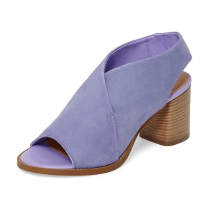 Women's Violet Slingback Shoes Peep Toe Block Heel Sandals
