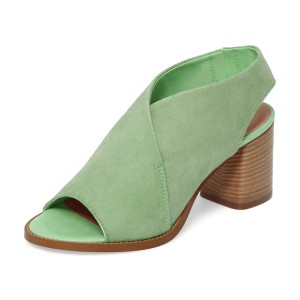 Women's Mint Green Peep Toe Slingback Block Heel Sandals