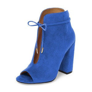 Blue Suede Boots Front Tie up Peep Toe Chunky Heel Ankle Boots