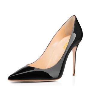FSJ Black Patent Leather Office Heels Pointy Toe Stiletto Heel Pumps