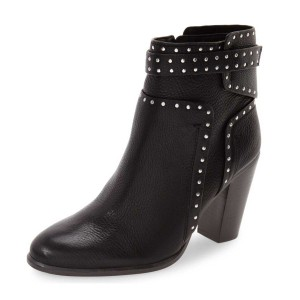 Black Chunky Heel Boots Round Toe Studded Ankle Booties