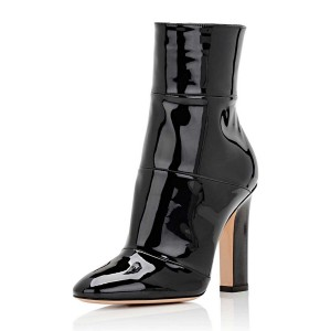 Black Chunky Heel Boots Patent Leather Pointy Toe Ankle Booties